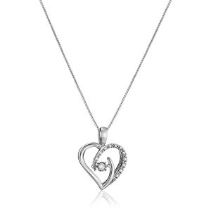 Dancing Diamond Sterling Silver Heart Pendant Necklace (1/10cttw, J-K Color, I2-I3 Clarity), 18