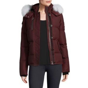 3Q Fox Fur-Trim Down Puffer Jacket