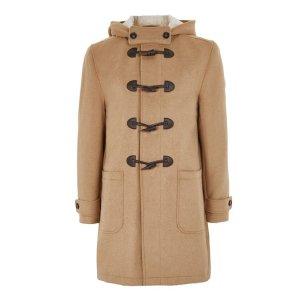 Camel Duffle Coat With Wool - Coats & Jackets - Clothing