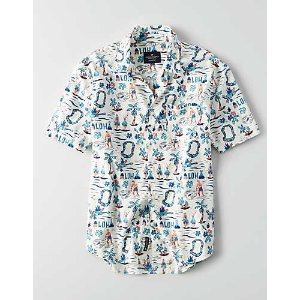 AEO Printed Short Sleeve Shirt, White | American Eagle Outfitters