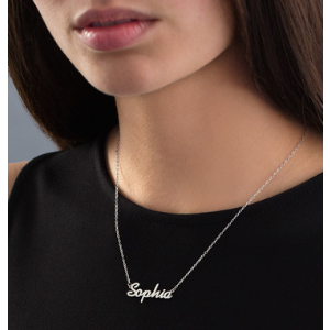 Script Name Necklace in Sterling Silver (11 Characters) - 17.25