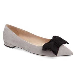 Prada Bow Pointy Toe Flat (Women)