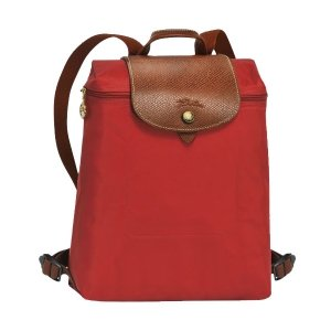 Longchamp Le Pliage Zippered Backpack - Burnt Red
