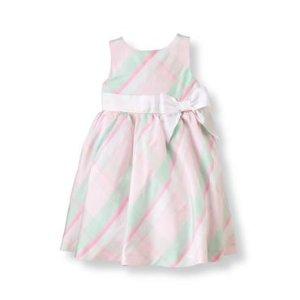 Baby Girl Pastel Pink Plaid Plaid Silk Dress at JanieandJack