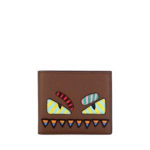 Fendi Monster Eyes Striped Wallet