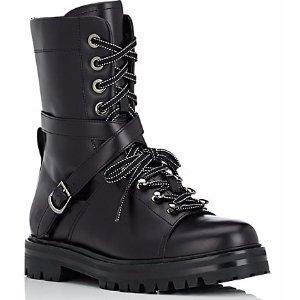 Valentino Leather Combat Boots   Barneys Warehouse