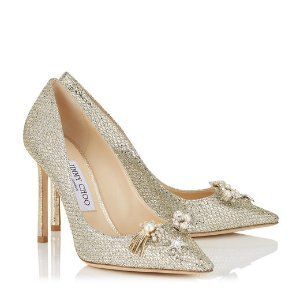 Champagne Glitter Fabric Pointy Toe Pumps with Jewelled Buttons | Jasmine 100 | Cruise 17 | JIMMY CHOO