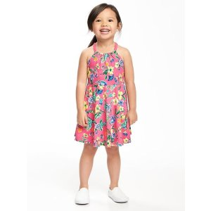 Floral Fit & Flare Halter Dress for Toddler