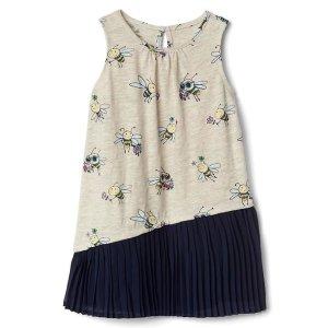Print asymmetrical pleat dress