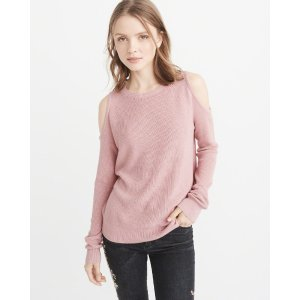 Womens Cold-Shoulder Sweater