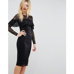 ASOS Midi Lace Pencil Dress with Long Sleeves and Frill Detail