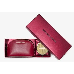 Jet Set Leather Pouch And Compact Set