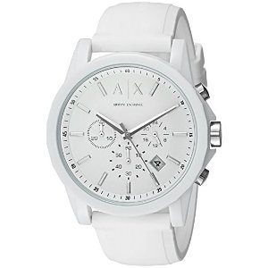 A|X Armani Exchange Mens Silvertone White Nylon With Silicone Straps Watch
