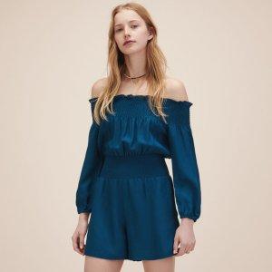 ILANDA Playsuit with smocking - Skirts & Shorts - Maje.com