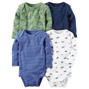 Carter's Infant Boys' 4-Pack Long-Sleeve Bodysuits - Dinosaurs & Striped - Clothing - Baby Clothing - Baby Bodysuits