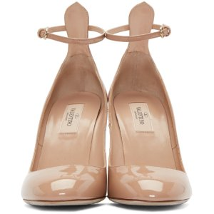 Valentino: Beige Patent Tall Tan-Go Mary Janes