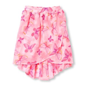 Girls Butterfly Print Hi-Low Wrap Skirt   The Children's Place