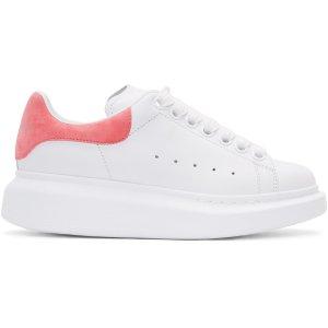Alexander McQueen: White & Pink Leather Sneaker
