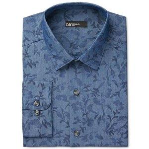 Bar III Men's Slim-Fit Indigo Leaf Print Dress Shirt, Only at Macy's - Dress Shirts - Men - Macy's