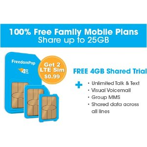 Only pay $1!Get 2 LTE GSM Sim Cards + Unlimited talk, text, and Shared 4GB