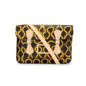 Navy Squiggle/Yellow Vivienne Westwood 14 inch Satchel with Magnetic Closure | Cambridge Satchel