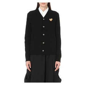 COMME DES GARCONS PLAY Embroidered-heart wool cardigan