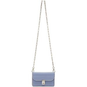 Valentino: Blue Small Stud Stitching Wallet Chain Bag