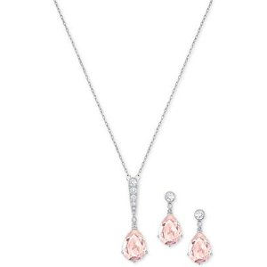 Swarovski Silver-Tone Pink and Clear Crystal Pendant Necklace & Matching Drop Earrings Set - Jewelry & Watches - Macy's