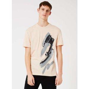 TOPMAN PREMIUM Stucco Pink Splat Print T-Shirt - View All Sale - Sale - TOPMAN USA