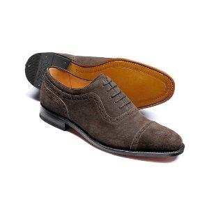 Dark grey Parker suede toe cap brogue Oxford shoes | Charles Tyrwhitt