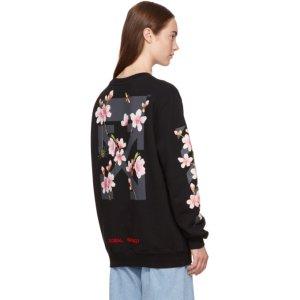 Off-White - Black Oversized Diagonal Cherry Sweatshirt