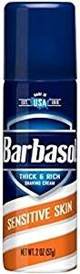 Barbasol Shave Cream Sensitive Skin Travel Size TSA Compliant 2 oz., Pack of 24