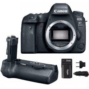 Canon EOS 6D Mark II DSLR Camera Body & BG-E21 Battery Grip w/ Battery & Charger