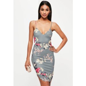 Grey Oriental Strappy Curve Hem Midi Dress - Missguided