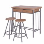 Costway 3 Piece Dining Set Table and 2 Chairs Dinette Kitchen Breakfast Metal Wood