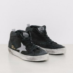 Golden Goose Sneakers Mid Star in Black and Silver