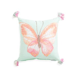 Kids Made In India 16x16 Sequin Butterfly Pillow - Throw Pillows - T.J.Maxx