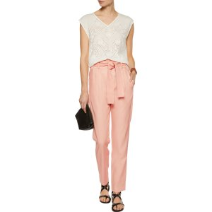 Panisse belted cotton-blend twill tapered pants | Maje