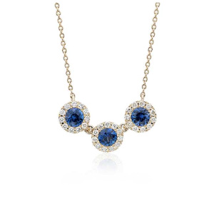 Sapphire and Diamond Halo Crown Necklace in 14k Yellow Gold (3.5mm)  | Blue Nile