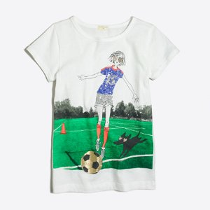 Girls' girl playing soccer keepsake T-shirt : keepsake t-shirts | J.Crew Factory