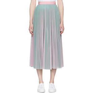 MSGM: Pink & Green Tulle Skirt
