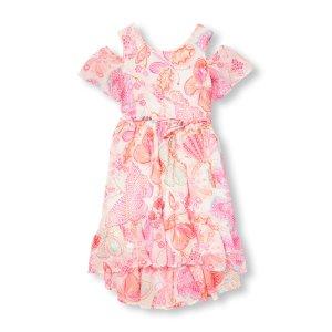 Girls Short Sleeve Butterfly Dress Cold-Shoulder Ruffle Dress | The Children's Place