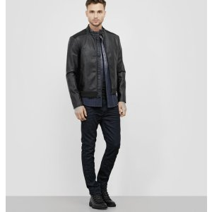 Faux Leather Moto with Neoprene Trim | Kenneth Cole