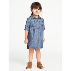 Chambray Shirt Dress for Toddler Girls