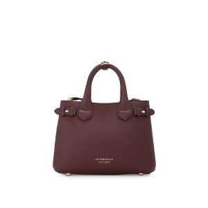 Burberry House Check Derby Leather Small Banner Tote