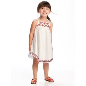 Embroidered-Yoke Crepe Swing Dress for Toddler