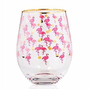 Home Essentials Flamingo & Dots Stemless Glasses, Set of 2 | Belk