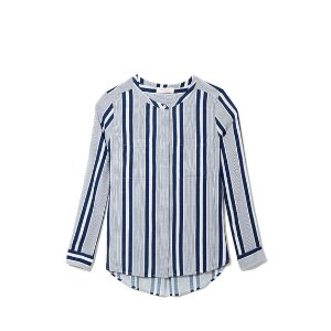 Two by Vince Camuto Collarless Striped Shirt