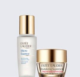 up to 6 deluxe samples+ deluxe samples of Revitalizing Supreme+ Cell Power Creme and Micro Essence Skin Activating Treatment Lotion with any $50 purchase