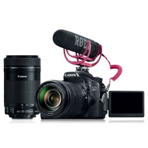 EOS 70D Video Creator Kit, EF-S 18-135mm IS STM, EF-S 55-250mm IS STM, Microphone & SDHC Card
